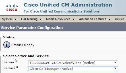 Enable CUCM CDR Data Collection - Cisco CallManager Service Parameters for CDR